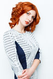 Rödhårig flickaframsida royaltyfri foto
