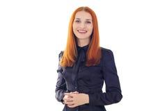 Rödhårig kvinna som talar om den viktiga informationen Fotografering för Bildbyråer