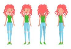 Rödhårig manflicka i kvinnlig T-tröja och riven sönder jeans vektor illustrationer