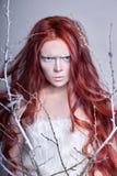 Rödhårig manflicka med långt hår, en framsida som täckas med snö med vita ögonbryn för frost, och ögonfrans i frost, en täckt trä royaltyfria bilder