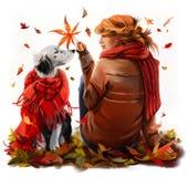 Rödhårig manflicka och hundseteren Arkivfoton
