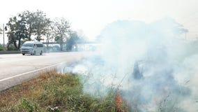 Rök av brandbränningen bredvid trafikvägen i Thailand arkivfilmer