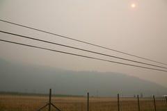 Rök från Stickpin brand Arkivfoto