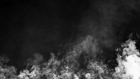 Rök- och mistfilmeffekt på isolerad svart bakgrund för text eller utrymme stock illustrationer