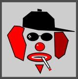 Röka cigarett för clown Arkivfoton