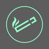 Röka den runda linjen symbol för område Runt färgrikt tecken för cigarett Plant stilvektorsymbol royaltyfri illustrationer
