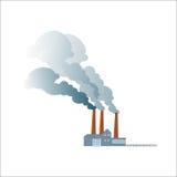 Röka den smutsiga förorena växten eller fabriken Royaltyfria Bilder