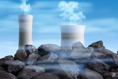Röka fabrikslampglas precis bak en hög av svart hårt kol arkivfoton