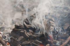 Röka kol royaltyfri fotografi