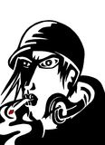 Röka mankomikerkonst Arkivbild