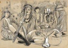 Röka vattenpipan (haremmen) - en hand dragen normalformat illustration Royaltyfria Bilder