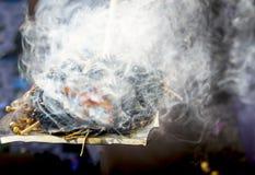 Rökelse av örtpinnen röker som Shamanic tradition arkivbild