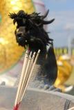 Rökelse för traditionell kines med den svarta draken i bakgrund Fotografering för Bildbyråer