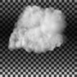 Röken eller dimman på en isolerad genomskinlig bakgrund Specialeffekt Vit molnig vektor, vektorillustration royaltyfri illustrationer