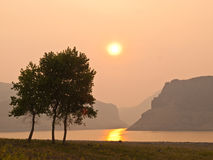 Rökig solnedgång på berglaken med trees Arkivbilder