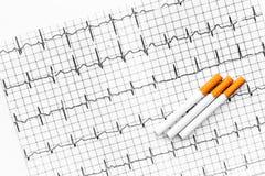rökning för cigarettfarapacke Cigaretter på kardiogram på vit bakgrundsåtlöje upp royaltyfria bilder