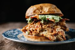 Rökt feg smörgås för BBQ på lantlig bakgrund Royaltyfri Foto
