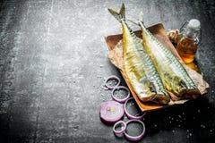 Rökt fiskmakrill på en platta med lökcirklar och vitlök fotografering för bildbyråer