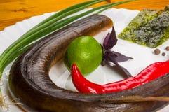 rökt garfish med limefrukt, basilika, salladslökar, chili, norichiper, kryddor, olivolja i en vit keramisk maträtt, på en trätabe royaltyfria foton
