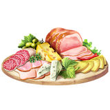 Rökt meat och ost royaltyfri illustrationer