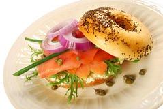 Rökte Salmon Bagel Sandwich Fotografering för Bildbyråer