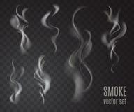 Rökuppsättning som isoleras på genomskinlig bakgrund Arkivbilder
