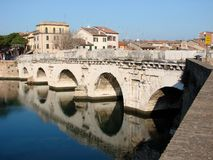 Römische Brücke in Rimini Lizenzfreie Stockbilder