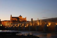 Römische Brücke und Moschee von Cordoba Lizenzfreie Stockfotos