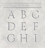 Römische Buchstaben gemeißelt im Marmorstein stock abbildung
