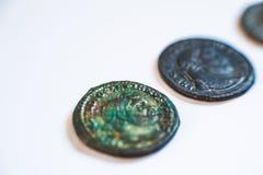 Römische Münzen Alte Münzen selten historisch Stockfotos