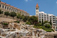 Römische Ruinen in der Mitte von Beirut Stockbilder