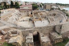 Römische Ruinen Taragona-Amphitheatre in Spanien stockfoto