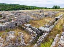 Römische Ruinen von Conimbriga Detail der Roman Insulae-Zone mit dem Abwasserkanalsystem sichtbar, in Conimbriga Stockfotografie