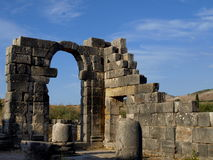 Römische Ruinen von Volubilis Stockfotografie