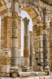 Römische Spalten bei Volubilis, Marokko Stockbilder