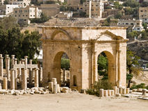Römische Stadt in Jerash Stockfotos