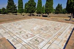 Römische Stadt von Italica, Mosaik des Hauses der Vögel, Andalusien, Spanien stockbild