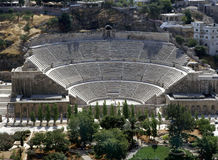Römischer Amphitheatre in Amman Stockfotos