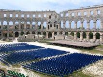 Römischer Amphitheatre in den Pula, Kroatien Stockfotografie