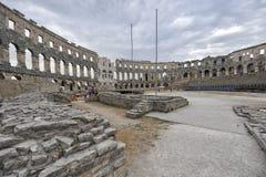 Römischer Amphitheatre die Arena, Pula, Kroatien Stockfotos