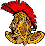 Römischer Befehlshaber-Maskottchen-Kopf mit Sturzhelm-Karikatur Stockbilder