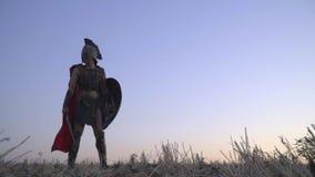 Römischer Legionär in einem Rüstungssturzhelm mit einer Klinge und einem Schild steht auf dem Gebiet vor Dämmerung stock video footage