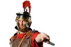 Römischer Soldat mit Klinge stockfoto