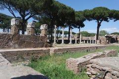 Römisches Amphitheater, altes Ostia Stockbild