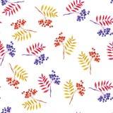 Rönnfilialer och sömlös vit bakgrund för rönnbär vektor illustrationer