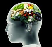 Röntgenstrålebild av det mänskliga huvudet med grönsaker för en hjärna Arkivbilder