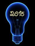 Röntgenstrålelightbulb med brusande 2015 siffror inom Fotografering för Bildbyråer