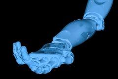 Röntgenstraal robotachtige hand met open handpalm Stock Foto's
