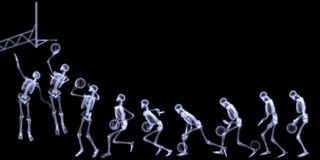 Röntgenstraal van het Menselijke SpeelBasketbal van het Skelet Stock Illustratie