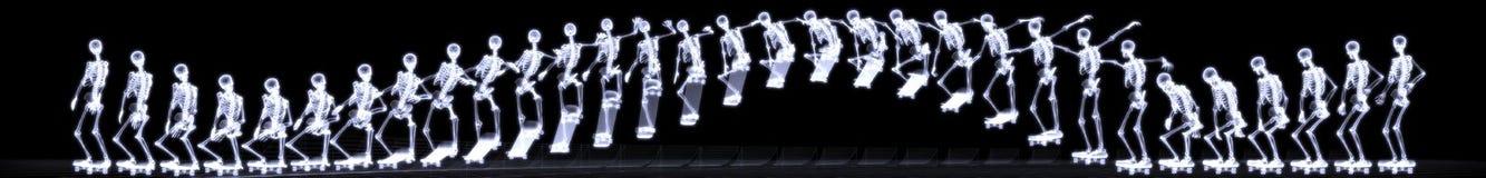 Röntgenstraal van menselijk skelet springend vrije slag Stock Fotografie